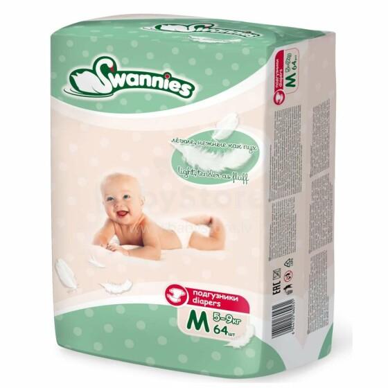 Swannies Diapers Art.117855 Bērnu autiņbiksītes M izmērs no 5-9kg, 64gab.
