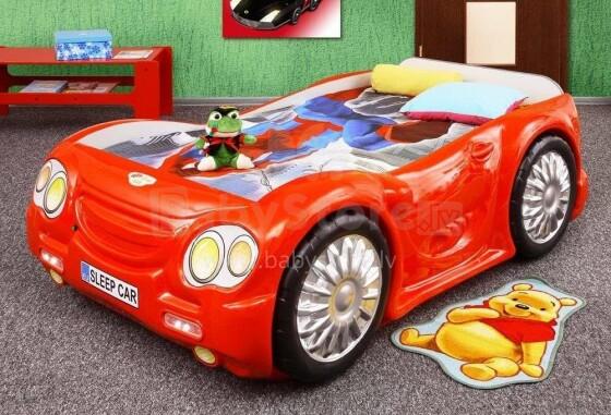 Plastiko Sleep Car Red Art.19092 Ergonomiska bērnu gulta - Mašīna ar  matraci 180x90 cm