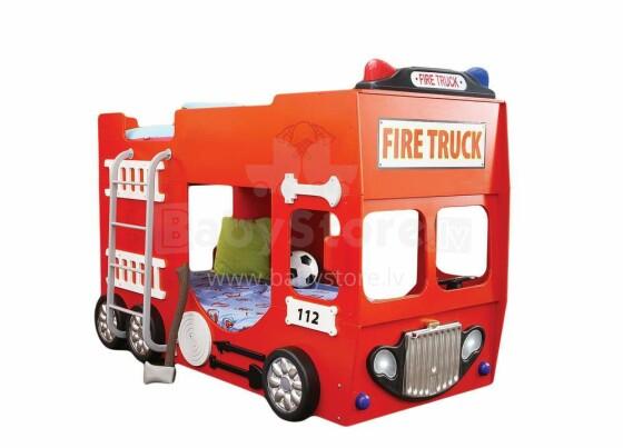 Plastico Fire Truck Art.19097 Divstāvu bērnu gulta un matraci 190x90 cm