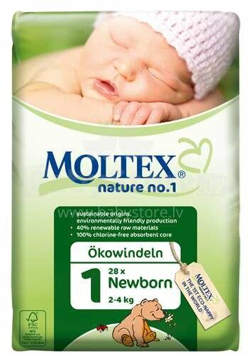 Moltex Nature no.1 Jaunās ekoloģiskās autiņbiksītes  Newborn 2-4 kg  23gab.