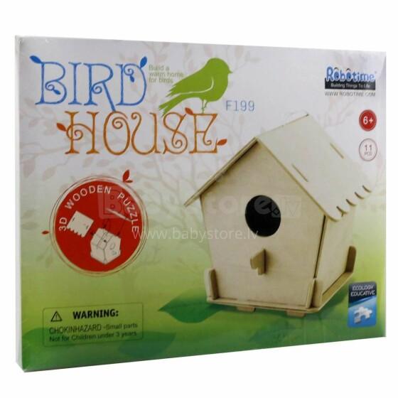 Robotime Art.F199 Bird House Puzzle 3D no koka ar krāsam Putnu māja (