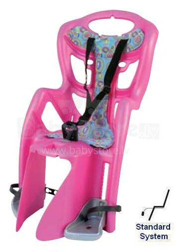 Bellelli Pepe standard Velosipēda bērnu sēdeklītis rozā zils sudrabs