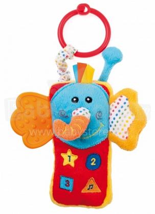 Canpol Babies 68/029 Bērnu mīksta rotaļlieta telefons - Zilonītis ar grabulīti 12cm