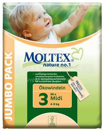 Moltex Öko Nature No.1 Art.76889 Jaunās ekoloģiskās autiņbiksītes  4-9kg (80 gb.)