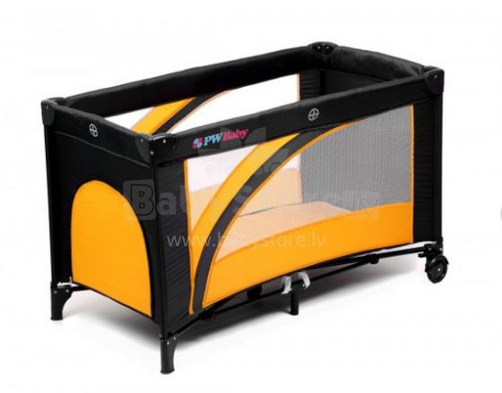 PW Baby Rainbow Vegetal Orange Art.IW262 Bērnu manēža - ceļojumu gultiņa ar riteņiem
