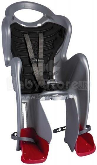 Bellelli MrFox Standard sudrabs ar melnu bērnu velosēdeklis uz rāmja