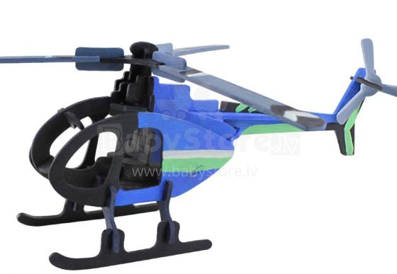 Robotime Art.104370 Puzzle 3D no koka ar krāsam Helikopters