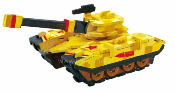 Robotime Art.104387 Puzzle 3D no koka ar krāsam Tanks