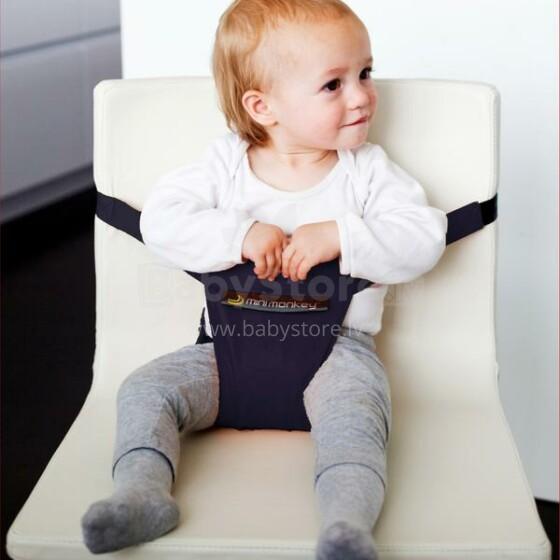 MiniMonkey® Mini Chair Seat Black - easy to clean Mobīla universāls auduma barošanas krēsliņš transformeris