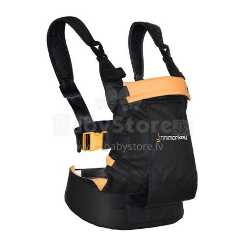 Minimonkey Dinamic Baby Carrier Black&Orange Bērnu Ķengursoma ( 0-18 kg )