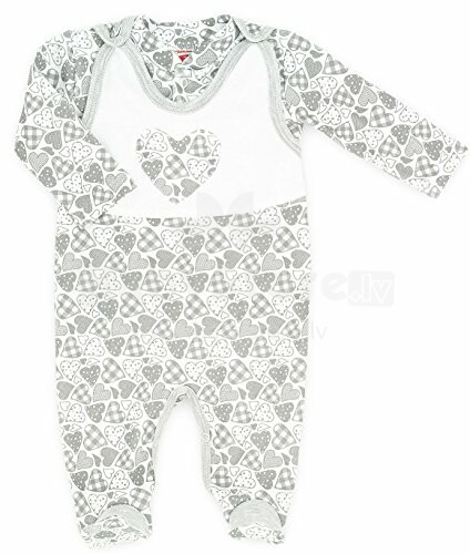 Makoma Art.01123 Gray Hearts Komplekts zīdaiņiem (rāpulītis+jaciņa)