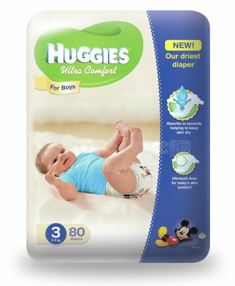 Huggies Ultra Comfort 3 Art.41543598 Autiņbiksītes zēniem  (5-9kg) 80gab.