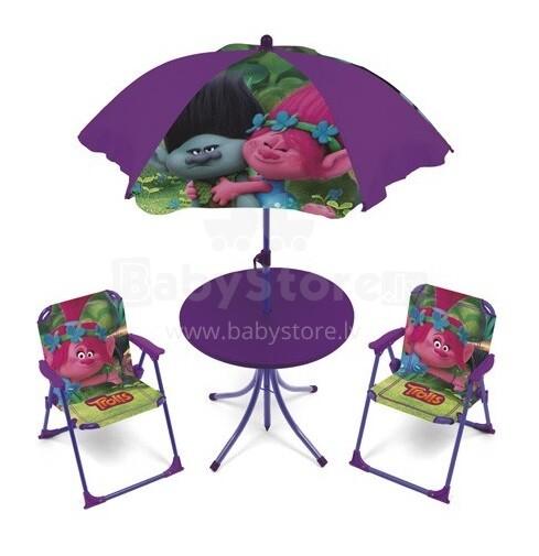 Arditex Trolls Art.TL11353 Bērnu dārza mēbeles  komplekts:  galds ar saulessargu  + 2 krēsli