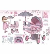 DeCuevas Toys Classic Romantic Art.85019 Leļļu rati ar kulbiņu un lietussargu