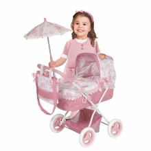 DeCuevas Toys Daniela Art.85021 Leļļu rati ar kulbiņu un lietussargu